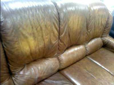 canape cuir marron 3 places etat moyen d occasion troc