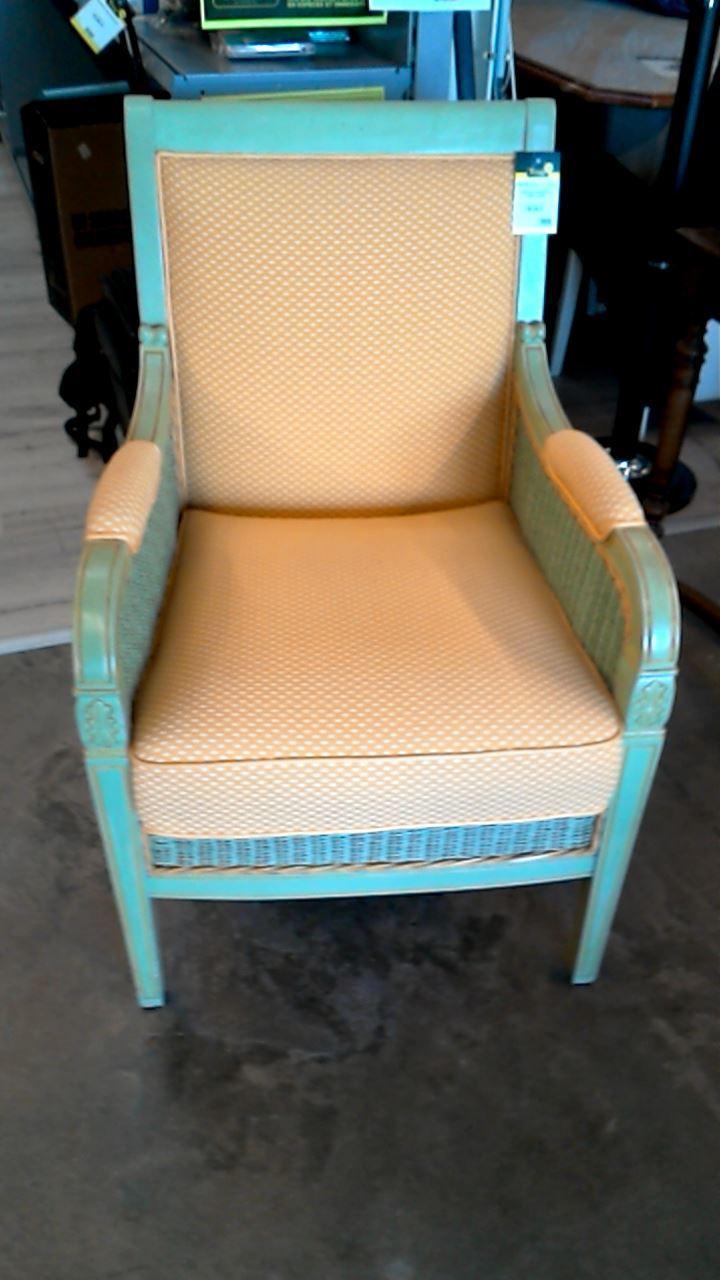 fauteuil rotin et tissu jaune d 39 occasion. Black Bedroom Furniture Sets. Home Design Ideas
