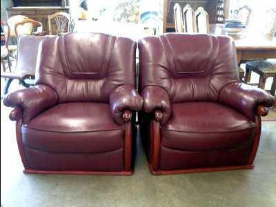 fauteuil cuir bordeaux d 39 occasion. Black Bedroom Furniture Sets. Home Design Ideas