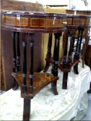 petit meuble rond marqueterie 1 tiroir ht 72 cm diam 44 cm d 39 occasion. Black Bedroom Furniture Sets. Home Design Ideas